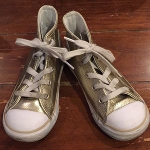 Converse gold leather sneakers